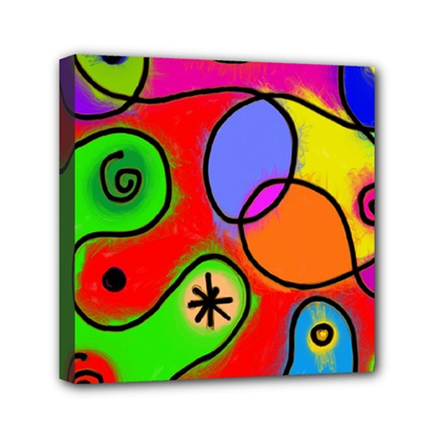 Digitally Painted Patchwork Shapes With Bold Colours Mini Canvas 6  x 6