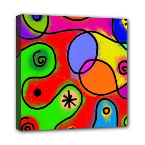 Digitally Painted Patchwork Shapes With Bold Colours Mini Canvas 8  X 8