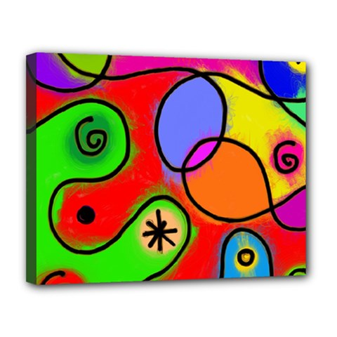 Digitally Painted Patchwork Shapes With Bold Colours Canvas 14  x 11