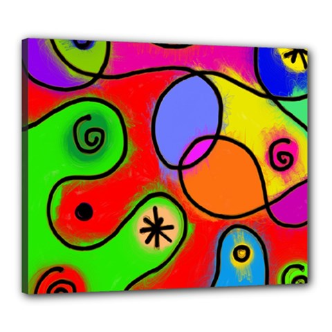 Digitally Painted Patchwork Shapes With Bold Colours Canvas 24  X 20