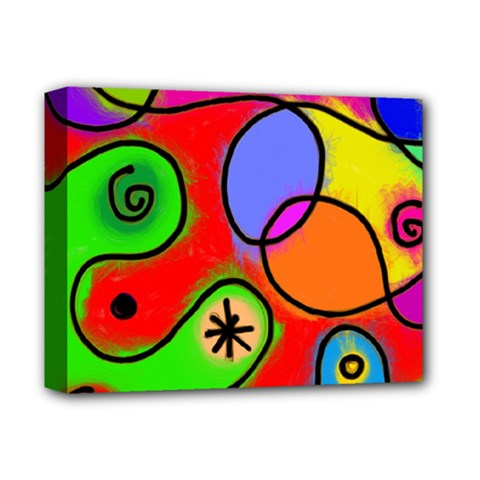 Digitally Painted Patchwork Shapes With Bold Colours Deluxe Canvas 14  X 11
