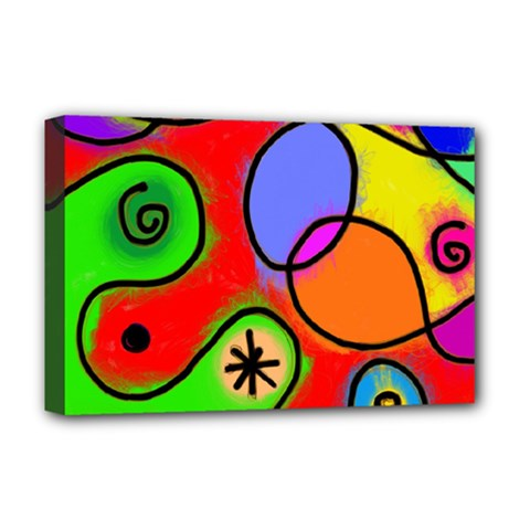 Digitally Painted Patchwork Shapes With Bold Colours Deluxe Canvas 18  x 12