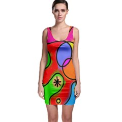Digitally Painted Patchwork Shapes With Bold Colours Sleeveless Bodycon Dress