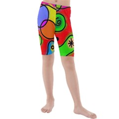 Digitally Painted Patchwork Shapes With Bold Colours Kids  Mid Length Swim Shorts