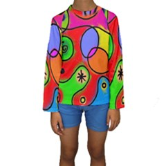 Digitally Painted Patchwork Shapes With Bold Colours Kids  Long Sleeve Swimwear
