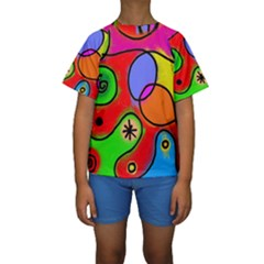 Digitally Painted Patchwork Shapes With Bold Colours Kids  Short Sleeve Swimwear