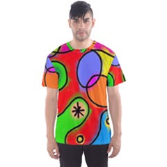 Digitally Painted Patchwork Shapes With Bold Colours Men s Sport Mesh Tee