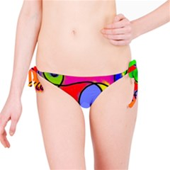 Digitally Painted Patchwork Shapes With Bold Colours Bikini Bottom