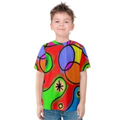 Digitally Painted Patchwork Shapes With Bold Colours Kids  Cotton Tee