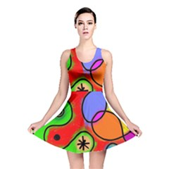 Digitally Painted Patchwork Shapes With Bold Colours Reversible Skater Dress