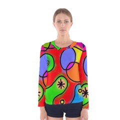 Digitally Painted Patchwork Shapes With Bold Colours Women s Long Sleeve Tee