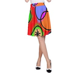 Digitally Painted Patchwork Shapes With Bold Colours A Line Skirt