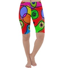 Digitally Painted Patchwork Shapes With Bold Colours Cropped Leggings