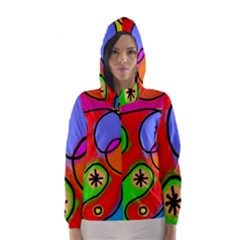 Digitally Painted Patchwork Shapes With Bold Colours Hooded Wind Breaker (Women)