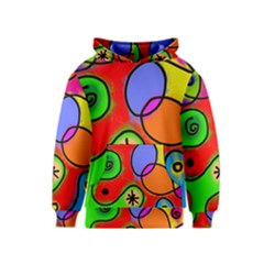 Digitally Painted Patchwork Shapes With Bold Colours Kids  Pullover Hoodie