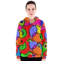 Digitally Painted Patchwork Shapes With Bold Colours Women s Zipper Hoodie