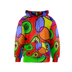 Digitally Painted Patchwork Shapes With Bold Colours Kids  Zipper Hoodie
