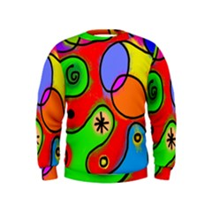 Digitally Painted Patchwork Shapes With Bold Colours Kids  Sweatshirt