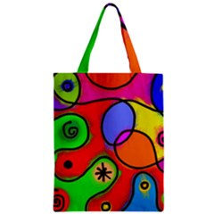 Digitally Painted Patchwork Shapes With Bold Colours Zipper Classic Tote Bag