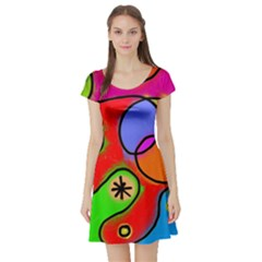 Digitally Painted Patchwork Shapes With Bold Colours Short Sleeve Skater Dress