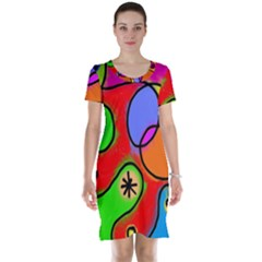 Digitally Painted Patchwork Shapes With Bold Colours Short Sleeve Nightdress