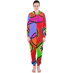 Digitally Painted Patchwork Shapes With Bold Colours Hooded Jumpsuit (ladies)