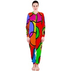 Digitally Painted Patchwork Shapes With Bold Colours OnePiece Jumpsuit (Ladies)