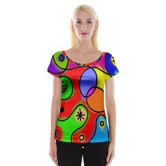 Digitally Painted Patchwork Shapes With Bold Colours Women s Cap Sleeve Top