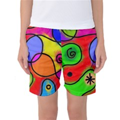 Digitally Painted Patchwork Shapes With Bold Colours Women s Basketball Shorts