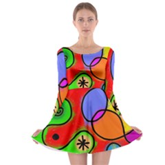 Digitally Painted Patchwork Shapes With Bold Colours Long Sleeve Skater Dress