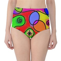 Digitally Painted Patchwork Shapes With Bold Colours High-Waist Bikini Bottoms