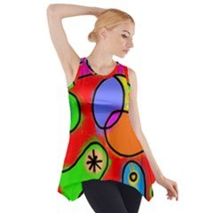 Digitally Painted Patchwork Shapes With Bold Colours Side Drop Tank Tunic