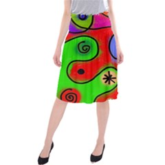 Digitally Painted Patchwork Shapes With Bold Colours Midi Beach Skirt