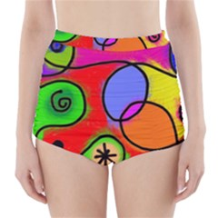 Digitally Painted Patchwork Shapes With Bold Colours High-Waisted Bikini Bottoms