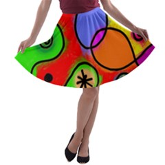 Digitally Painted Patchwork Shapes With Bold Colours A Line Skater Skirt