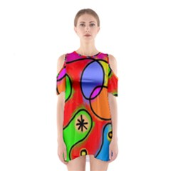 Digitally Painted Patchwork Shapes With Bold Colours Shoulder Cutout One Piece