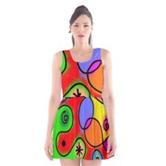 Digitally Painted Patchwork Shapes With Bold Colours Scoop Neck Skater Dress