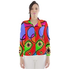 Digitally Painted Patchwork Shapes With Bold Colours Wind Breaker (Women)
