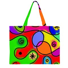 Digitally Painted Patchwork Shapes With Bold Colours Large Tote Bag