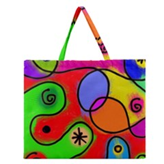 Digitally Painted Patchwork Shapes With Bold Colours Zipper Large Tote Bag