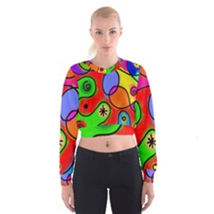 Digitally Painted Patchwork Shapes With Bold Colours Women s Cropped Sweatshirt