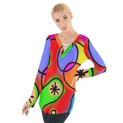 Digitally Painted Patchwork Shapes With Bold Colours Women s Tie Up Tee