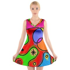Digitally Painted Patchwork Shapes With Bold Colours V-Neck Sleeveless Skater Dress
