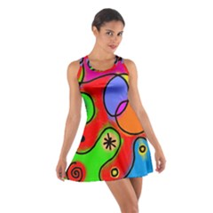 Digitally Painted Patchwork Shapes With Bold Colours Cotton Racerback Dress