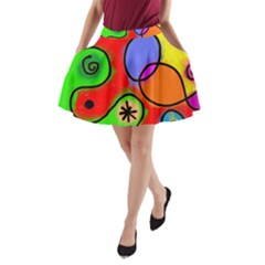 Digitally Painted Patchwork Shapes With Bold Colours A Line Pocket Skirt
