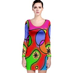 Digitally Painted Patchwork Shapes With Bold Colours Long Sleeve Velvet Bodycon Dress