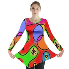 Digitally Painted Patchwork Shapes With Bold Colours Long Sleeve Tunic