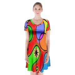 Digitally Painted Patchwork Shapes With Bold Colours Short Sleeve V-neck Flare Dress