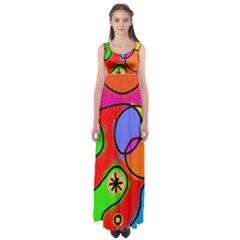 Digitally Painted Patchwork Shapes With Bold Colours Empire Waist Maxi Dress