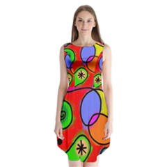 Digitally Painted Patchwork Shapes With Bold Colours Sleeveless Chiffon Dress